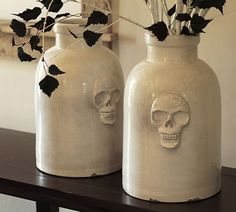 Shop skull ceramic vase from Pottery Barn. Our furniture, home decor and accessories collections feature skull ceramic vase in quality materials and classic styles. Halloween Vase, Pottery Barn Halloween, Halloween Skull, Halloween Decorations, Halloween 2015, Classy Halloween, Design Vase, Decoration Design, Goth Home
