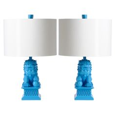 Barbara Cosgrove Foo Dog Caribbean Blue Mini Table Lamp Set of 2