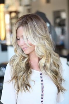 Cool blonde with long soft layers!