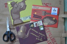 mail art with Trader Joe's bags Homemade Teacher Gifts, Homemade Gifts, Diy Recycle, Recycling, Paper Bag Crafts, Trader Joe's, Letter Writing, Reusable Bags, Mail Art
