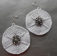 White Crochet Bridal Hoop Earrings With Pearl Embellishment by IrmasElegantBoutique.Etsy.com