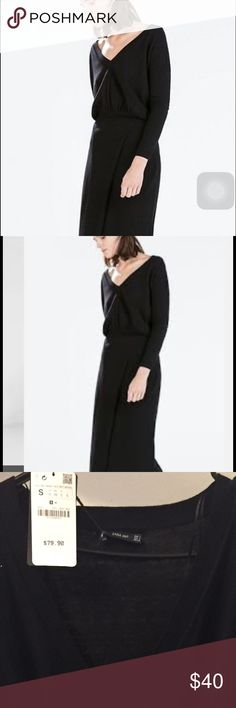 Zara Never Worn Black Knit Sweater Dress Sexy Black Knit Sweater Dress with Slit Zara Sweaters