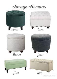 5 Things Every Small Bedroom Needs - Ottomans - Ideas of Ottomans - Storage Ottoman Round Up Ideas for Decorating a Small Bedroom Bedroom Ottoman, Small Chair For Bedroom, Ottoman Decor, Bedroom Seating, Bedroom Furniture, Bedroom Decor, Small Storage Ottoman, Ottoman Ideas, Diy Ottoman