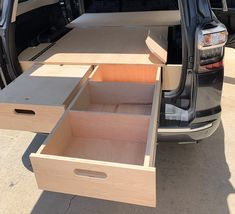 DIY Drawer System Plans for the Gen - Just Build your Own! Truck Bed Drawers, Truck Bed Storage, Van Storage, Camping Storage, Diy Drawers, Bed With Drawers, Land Rover Discovery, Motorhome, Truck Bed Camping