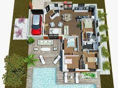 ouleurs Villa offers the Villa Mae, modern, contemporary this house is . Villa K, Villa Plan, The Plan, How To Plan, Small House Plans, Architecture Plan, House Layouts, My Dream Home, Dream Homes