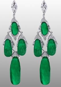 fantastic!!!!  Jacob & Co. Earrings in 18k white gold with 60.98 cts. t.w. Colombian briolette emeralds and 11.36 cts. t.w. colorless D-F color, VS clarity,