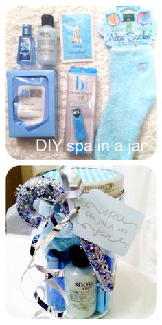 Easy DIY spa in a jar. Perfect for a holiday gift! This one includes: Snow Kissed Mint hand sanitizer, Snow Angel shampoo/body wash bubble bath, mud mask, aloe socks, facial wipes, and nail clippers. Stuff in jar, cut a fabric square and cover top, then place lid on with adhered scrapbook paper to lid. Make a tag, tie with ribbon and decorative ornament!
