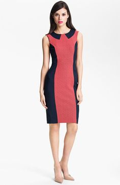 Sumptuous side panels accentuate the lithe silhouette of a sleeveless sheath textured with a lace center column and capped by a playful, faux collar.  French Connection 'Lux' Colorblock Lace Sheath Dress | Nordstrom