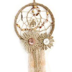 5 Natural Dreamcatcher Jute ribbon and buttons by KalonaCreativity