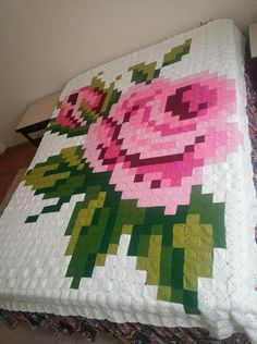 Nurten's media content and analytics. Crochet Bedspread, Crochet Quilt, Crochet Blanket Patterns, Crochet Baby, Quilt Patterns, Knit Crochet, Crochet Pixel, Crochet Carpet, Le Point