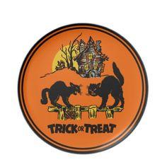"Vintage Halloween ""Trick or Treat"" Black Cat Plate"