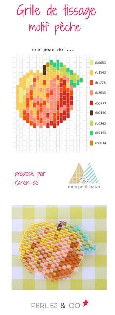 """Quel est votre fruit  préféré? La pêche ? Et bien, Karen du blog Mon petit bazar vous propose de réaliser un motif pêche, qu'elle appelle """"une peau de ..."""" en perles Miyuki Delicas 11/0   Ce motif peut être réalisé avec les techniques brickstitch ou peyote.  Retrouvez le tutoriel sur la boutique en ligne Perles & Co  >> https://www.perlesandco.com/Diagramme_peche_en_perles_Miyuki_Delicas_par_Mon_Petit_Bazar-s-2772-47.html"""