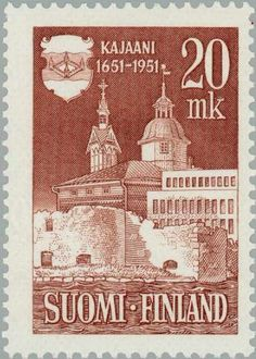 Postage stamp celebrating anniversary of the city of Kajaani, Finland. Finnish Language, Town Hall, Stamp Collecting, Helsinki, Postage Stamps, Poster, Graphic Design, City, Product Design