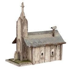Folk Art Church Birdhouse  American  1920's  A great looking weathered American folk art bird house with old paint and a zinc roof.