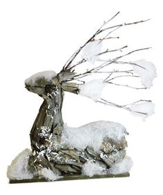 Shea's Wildflowers Company Laying Snow Covered Driftwood Deer Décor #zulilyfinds