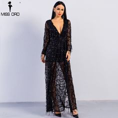 bba1e5a0961a03 Sexy ankle-length long sleeve deep V two split sequin maxi dress