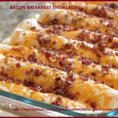 Bacon Breakfast Enchiladas Recipe This zesty breakfast casserole can be prepared ahead of time and refrigerated, making it perfect for a brunch or holiday breakfast! What's For Breakfast, Breakfast Items, Breakfast Dishes, Breakfast Recipes, Sausage Breakfast, Bacon Breakfast Casserole, Breakfast Wraps, Good Breakfast Ideas, Atkins Breakfast