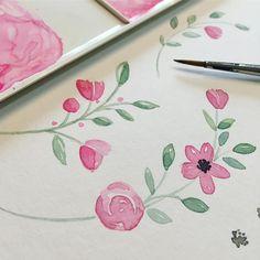 Painting some #watercolour #florals for some new #bespoke #custom #logo #design  #handdrawn #handpainted #flowers #floral #pretty #logodesign #logodesigner #businesscardsdesign #branding #design #nikkiwhistoninks #calligraphy #calligraphylogo