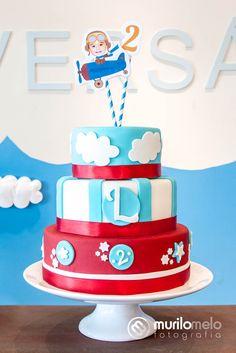 Bolo - Festa de Aniversário Infantil Avião