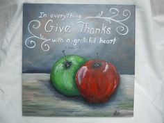 APPLES still life with scripture Give Thanks by STROKESofFAITH, $25.00