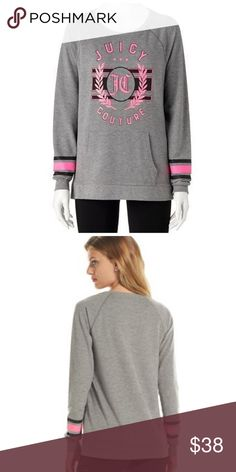 JUICY COUTURE Gray Sparkle Crest Tunic Sweatshirt NWT JUICY COUTURE tunic sweatshirt puts a feminine spin on a sporty favorite!  PRODUCT FEATURES Foil graphics add a touch of sparkle Crewneck Long sleeves Kangaroo pocket on front Polyester, rayon, spandex Machine wash  *Bundle Discounts * No Trades * Smoke free Juicy Couture Tops Sweatshirts & Hoodies