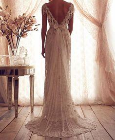 Vintage V Neck Backless White Ivory Lace Wedding Dresses 2016 New Bridal Gowns