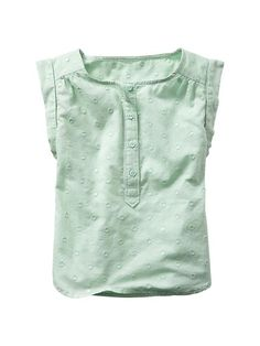 """Dobby dot henley top  Gabby- """"My daughter would love to wear this along with the white eyelit skirt next to it as her first day back to school outfit. I don't think I would purchase due to funds at the time."""""""