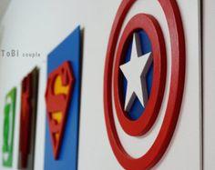 Captain America Superheld, Wandkunst, Kinder-Schlafzimmer-Wand-Kunst - Easy Crafts for All Superhero Wall Art, Superhero Party, Superhero Room Decor, Boys Superhero Bedroom, Bedroom Kids, Bedroom Crafts, Marvel Wall Art, Superhero Spiderman, Marvel Bedroom Decor