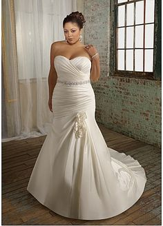 Glamorous Satin Mermaid Sweetheart Neckline Plus Size Wedding Dress With Beads and Handmade Flowers
