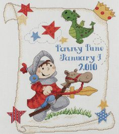 10.5X13-BRAVE KNIGHT Birth Announcement Cross Stitch Kit. JoAnns.