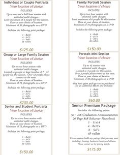 photo packages price list | Photography Price List By Packages                                                                                                                                                                                 More