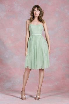 Ballerina style mint green bridesmaid dress from Kelsey Rose