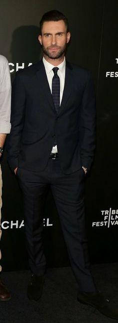 Adam Levine in Prada attends the 'Begin Again' premiere. #bestdressed