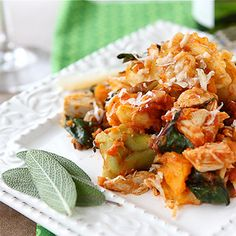 except use chicken and brussels sprouts....Baked Tortellini with Turkey, Butternut Squash & Chard Recipe