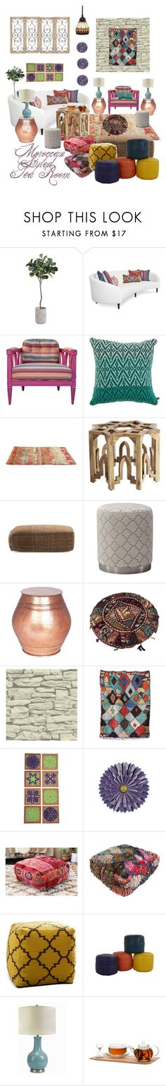 """Moroccan Styled Tea Room"" by michele-nyc ❤ liked on Polyvore featuring interior, interiors, interior design, home, home decor, interior decorating, Katie Victoria, Pier 1 Imports, Jayson Home and Abbyson Living"
