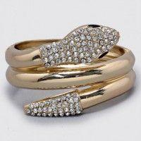 Gold Hinged Snake & Rhinestone Bracelet