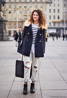 Outfit idea: how to wear distressed boyfriend jeans in winter, street fashion Zagreb, Croatia by PEOPLEANDSTYES.COM