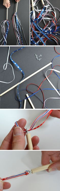 DIY 4th of July Ribbon Wand   Get in the Patriotic mood with these 18 Super Easy, DIY 4th of July Crafts for Kids to Make!