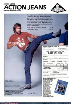 Yes, you too can own a pair of Chuck Norris action jeans!