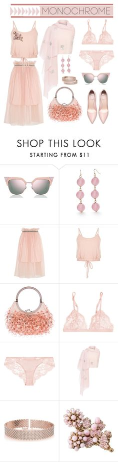 """Monochrome"" by bravo1755 ❤ liked on Polyvore featuring Fendi, New Directions, Mother of Pearl, Valentino, La Perla, Janavi, Allurez and Miriam Haskell"