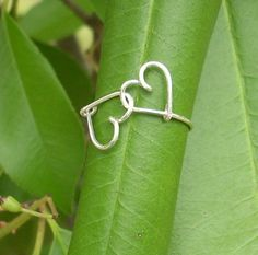 Lover's ring Linked hearts silver wire ring by RingBinder on Etsy, $9.95