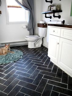Update Bathroom with DIY Herringbone Floor Using Peel n' Stick Luxury Vinyl Tile Bathroom Tile Designs, Bathroom Floor Tiles, Bathroom Ideas, Bathroom Updates, Stick On Tiles Bathroom, Bathroom Vanities, Bathroom Black, Best Tiles For Bathroom, Modern Bathroom