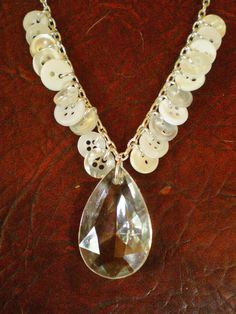 Vintage Chandelier Crystal & Button Necklace - repurposed, Victorian inspired, shabby chic