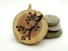 Cherry Blossom Natural Wood Necklace with by SimplyTwitterpated, $26.00