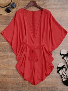 58048662df51f  27.49 Drawstring Cover Up Batwing Romper - RED S Swimsuits For Teens