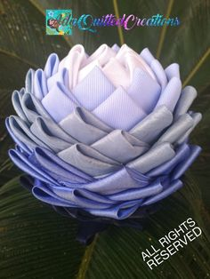 TUTORIAL, water lily original pattern, no sew quilted lotus flower, step by step instructions, DIY fabric flower – Diy Flower 2020 Diy Flowers, Fabric Flowers, Flower Step By Step, Fabric Flower Tutorial, Quilted Ornaments, Diy Kits, Hostess Gifts, Step By Step Instructions, Decor Crafts