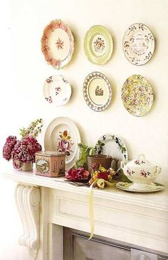 DIY China decor - Old china gets re-purposed. Display mix and match china on your wall, your choice of patterns.Visit thrift stores for china. Quaint and affordable decor item!
