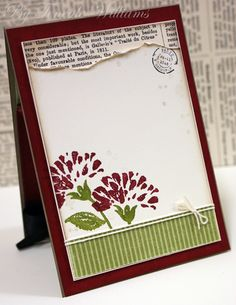 The inside of this card is amazing, love the torn edge layer of paper over text print. Teneale Williams card.