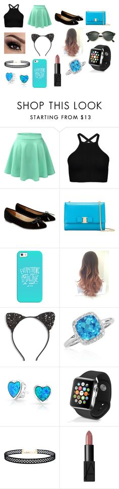 """""""blue or mintgreen and black outfit"""" by queensalma ❤ liked on Polyvore featuring LE3NO, Accessorize, Salvatore Ferragamo, Casetify, Cara, Belk & Co., Bling Jewelry, Apple, LULUS and NARS Cosmetics"""