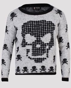 Grey Black Fuzzy Skull Skeleton Print Super Soft Jumper s M M L | eBay